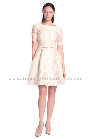 DT1022 Contrast Mesh Floral Fit & Flare Dress - Champagne