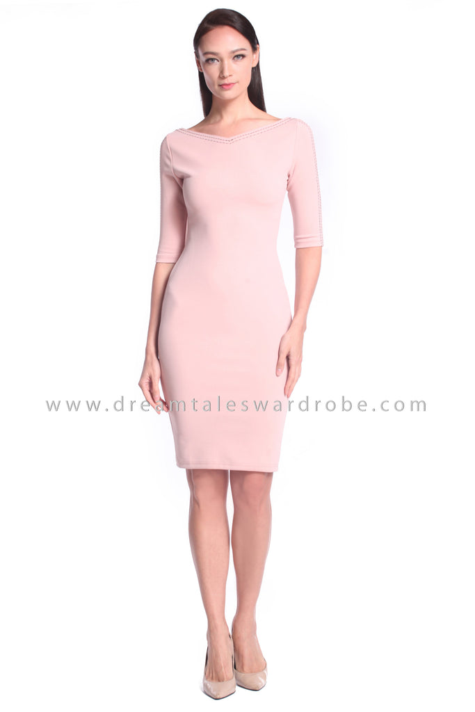 DT1026 Sweetheart Plain Quarter Sleeves Dress - Powder Pink
