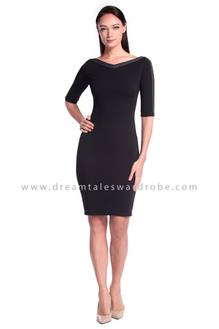 DT1026 Sweetheart Plain Quarter Sleeves Dress - Black