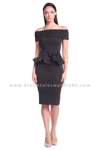 DT1027 Bardot Peplum Dress with Belt - Black