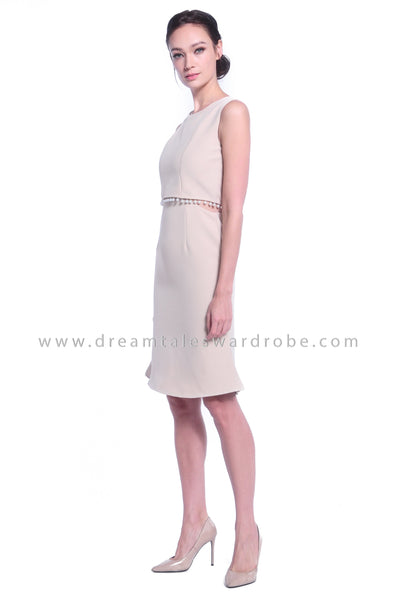 DT1029 Pearl Details Mermaid Dress - Beige