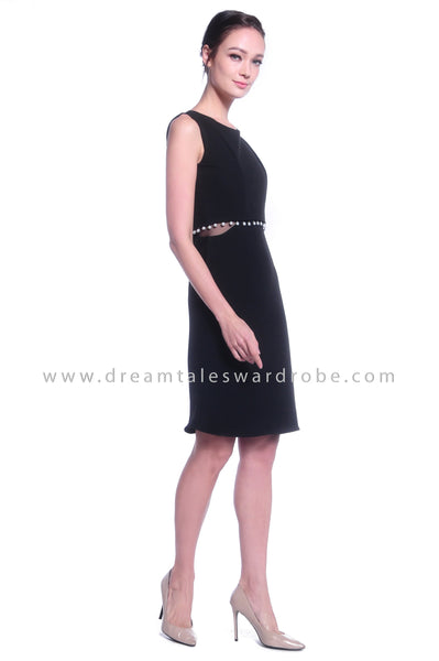 DT1029 Pearl Details Mermaid Dress - Black