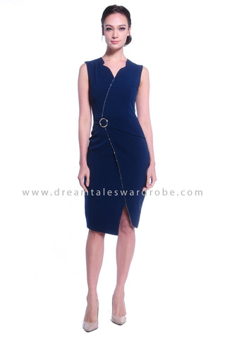 DT1031 Plain Overlapped Buckle Details Dress - Teal