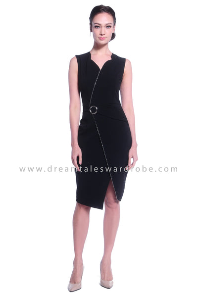 DT1031 Plain Overlapped Buckle Details Dress - Black