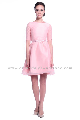 DT1033 Ribbon Belt Fit & Flare Dress - Pink