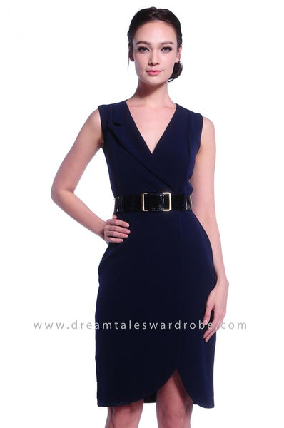 DT1039 Overlap Collar Dress with Belt - Blue