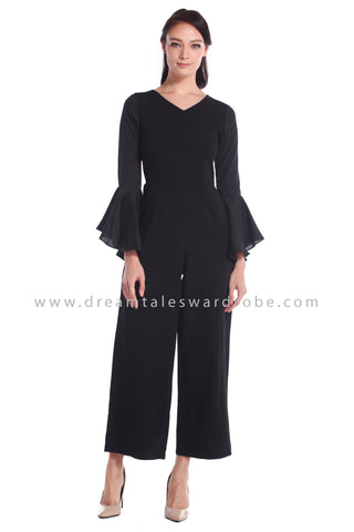DT1044 Fluted Sleeves Culottes Jumpsuit - Black