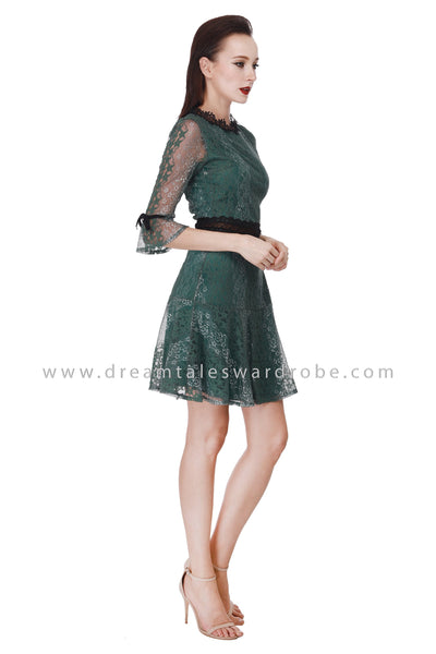 DT1083 Lace Fluted Sleeves Fit & Flare Dress -  Green
