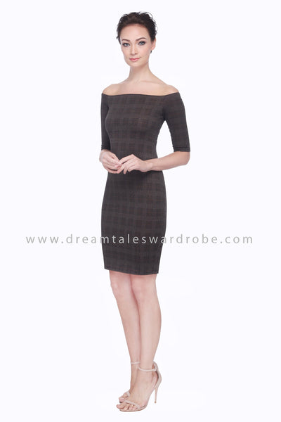 DT1097 Off Shoulder Plaid Checks Dress -  Mocha Brown