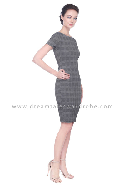 DT1104 Plaid Checker Dress -  Gray