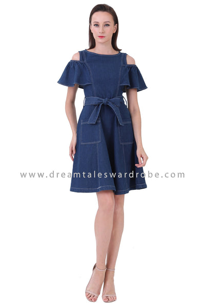 DT1220 Cold Shoulder Jeans Dress -  Medium Blue