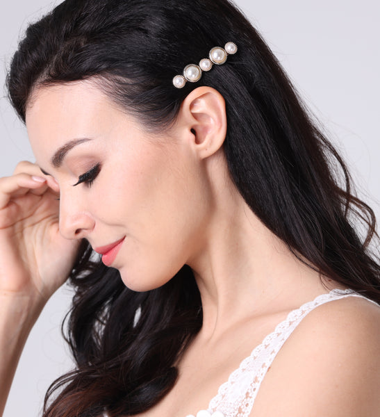 DT061E 90s Style Pearl Statement Hair Accessories - White