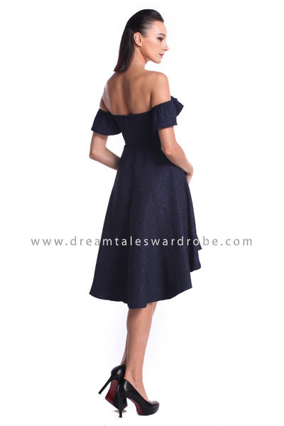 DT1210 BarDot Ruffles Asymmetrical Hem Dress - Blue