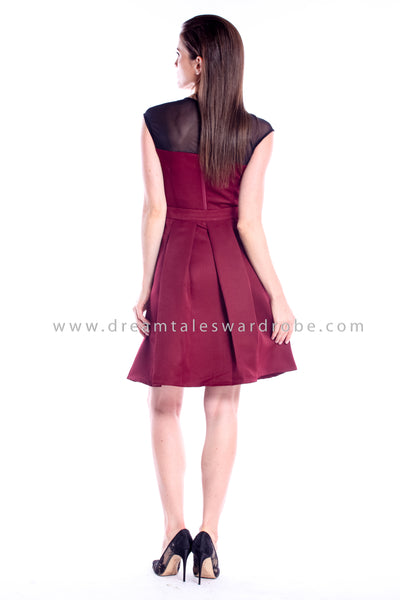 DT0839 DuoWay Dress With Detachable Skirting - Maroon
