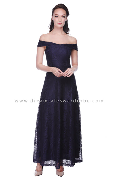 DT1063 Bardot Lace Evening Dress - Blue