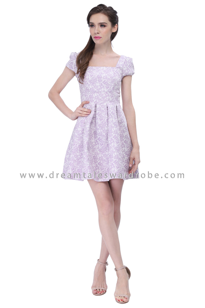 DT1212 Pleated Fit & Flare Dress - Pastel Purple