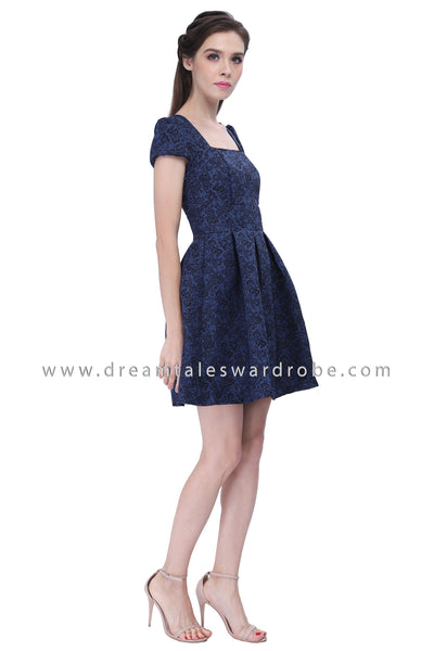 DT1212 Pleated Fit & Flare Dress - Blue