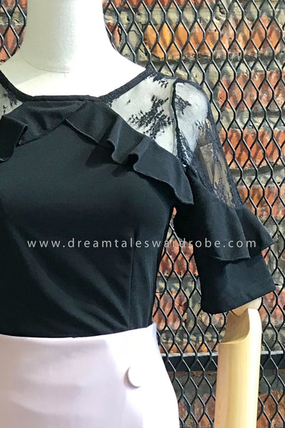 SP023 Mesh Ruffles Top - Black