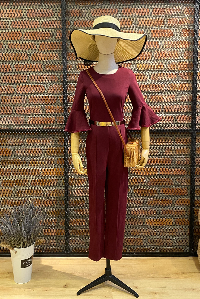 DT0750 Flare Sleeves Culottes Jumpsuit with Gold Metal Belt - Maroon