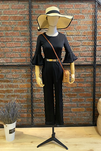 DT0750 Flare Sleeves Culottes Jumpsuit with Gold Metal Belt - Black
