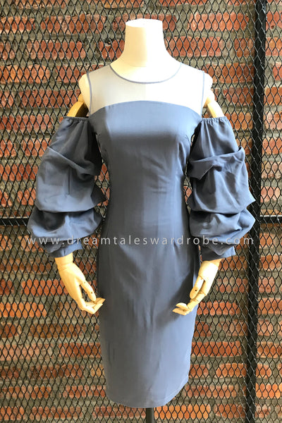 DT0773 Cold Shoulder Puffy Sleeves Dress - Gray