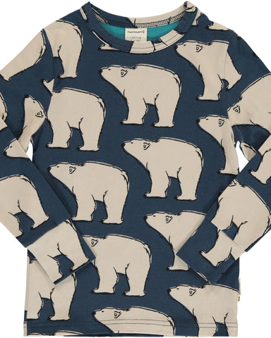 Maxomorra long sleeve ijsbeer polar bear blauw