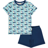 Maxomorra pyjama zeilboot blauw korte SAILBOAT