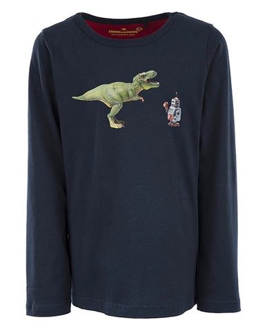 Stonesandbones long sleeve Skipper DINO VS ROBOT blauw navy