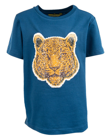 Stones and bones tshirt blauw 24501 Oscar BIG CATS cobalt