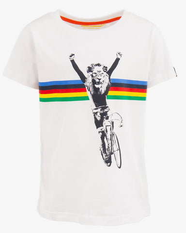 Stones and bones tshirt fiets leeuw wit Russell CHAMP white