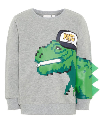 nameit sweater dino grijs
