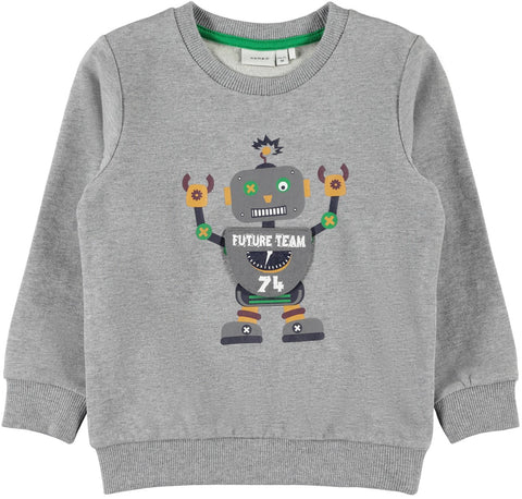 name it sweater grijs robot