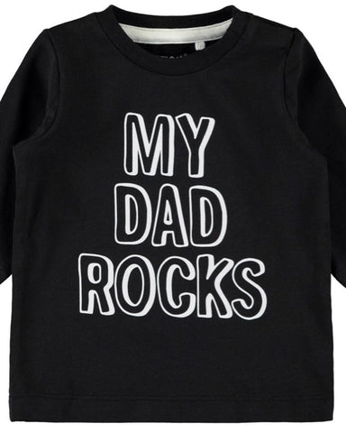 nameit tshirt long sleeve zwart my dad rocks 13167311 unisex