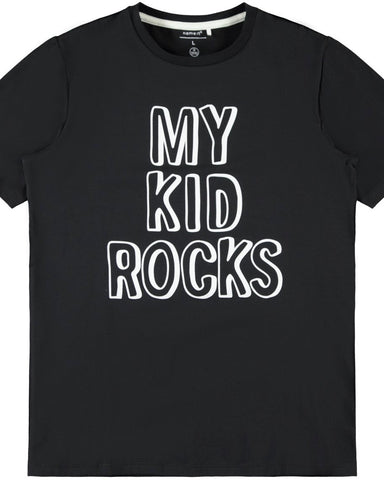 nameit tshirt zwart my kid rocks