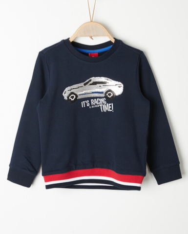 soliver sweater auto omkeerbare pailletten blauw 41.6495