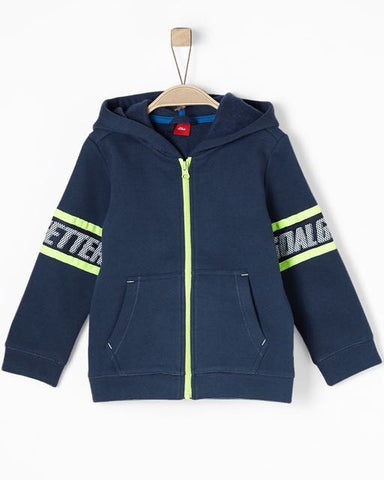 soliver sweater blauw rits kap