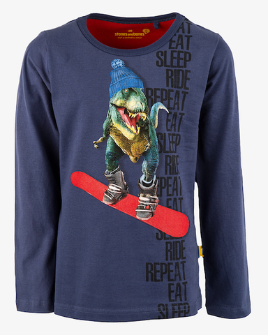 stones and bones long sleeve dino Skipper REPEAT cobalt