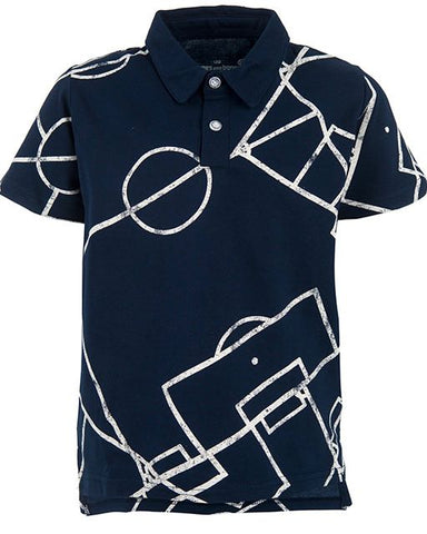 stonesandbones polo blauw voetbal Victory SOCCER FIELD navy