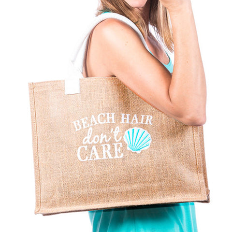 Beach Hair Don't Care Embroidered Tote Bag