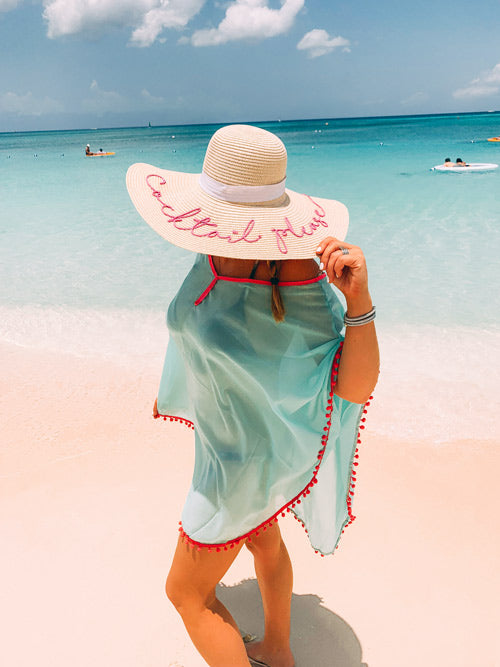 bathing suit cover up and sun hat spring break fashion