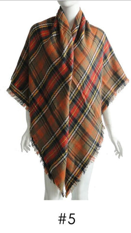 Plaid Blanket Scarf Scarves (Black, Army Green, Cream)