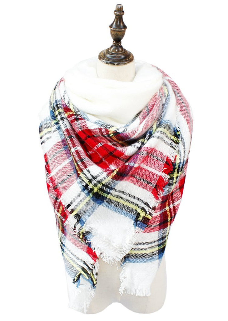 Plaid Blanket Scarf Scarves (Red, White) - Katydid.com