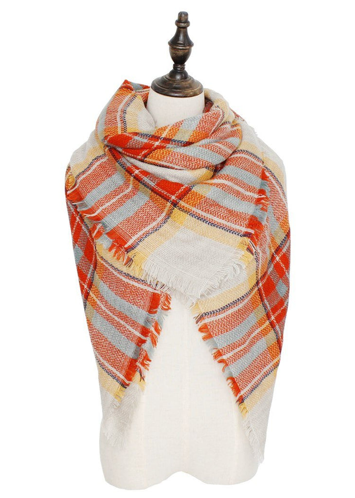 Plaid Blanket Scarf Scarves (Coral, Mint) - Katydid.com