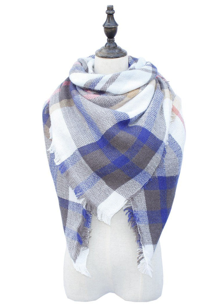 Plaid Blanket Scarf Scarves (Gray, Blue, Pink) - Katydid.com