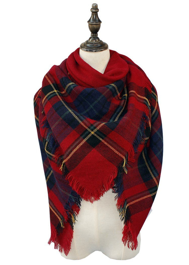 Plaid Blanket Scarf Scarves (Red, Navy, Black) - Katydid.com