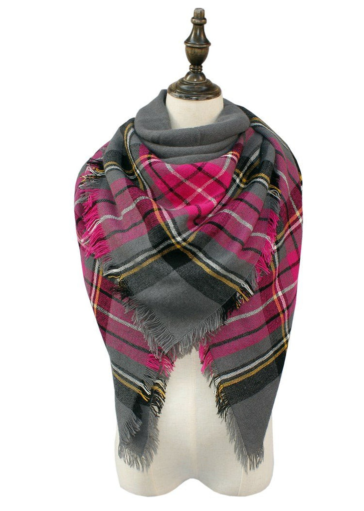 Plaid Blanket Scarf Scarves (Gray, Pink, Black) - Katydid.com