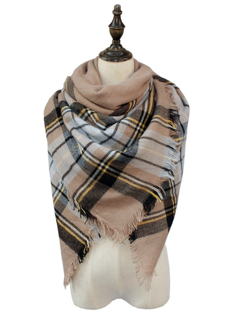 Plaid Blanket Scarf Scarves (Tan, Black, Light Blue) - Katydid.com