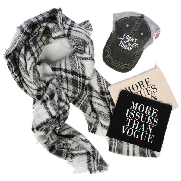 Katydid I Can't Adult Bundle (Blanket Scarf, Hat + Cosmetic Bag)