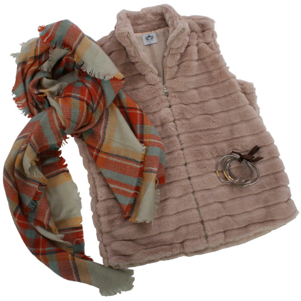 Katydid Brown Rabbit Vest Bundle (Vest + Bangle Bracelet + Blanket Scarf)