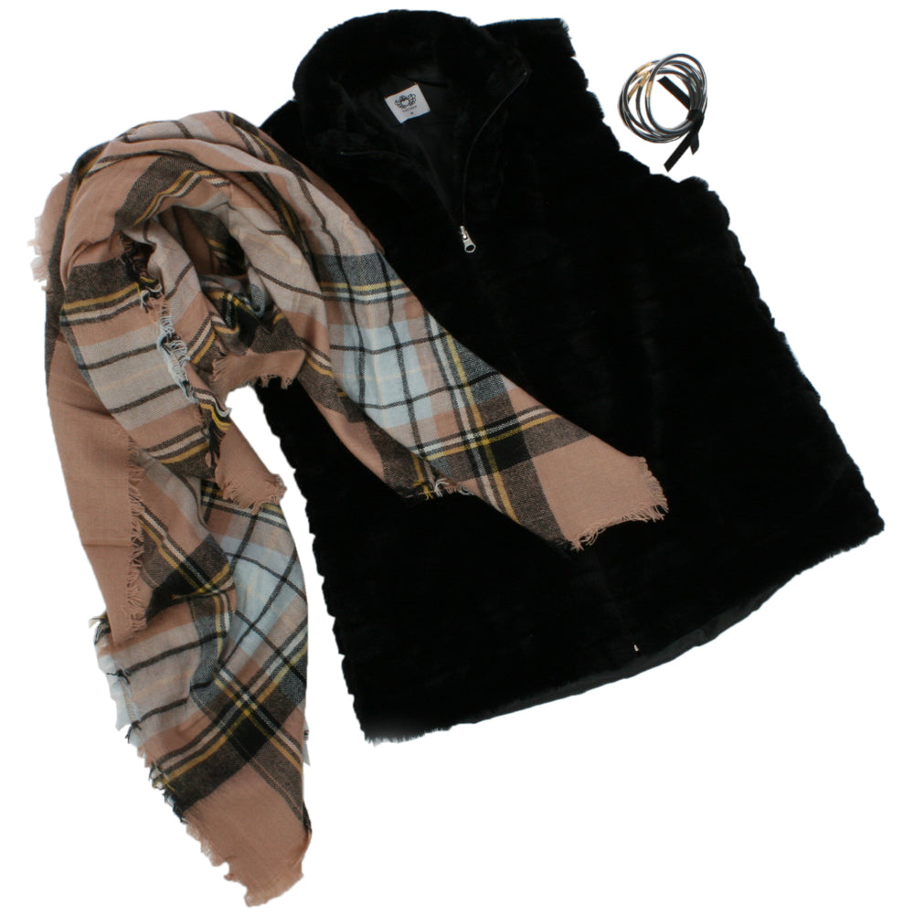 Katydid Black Rabbit Vest Bundle (Vest + Bangle Bracelet + Blanket Scarf)